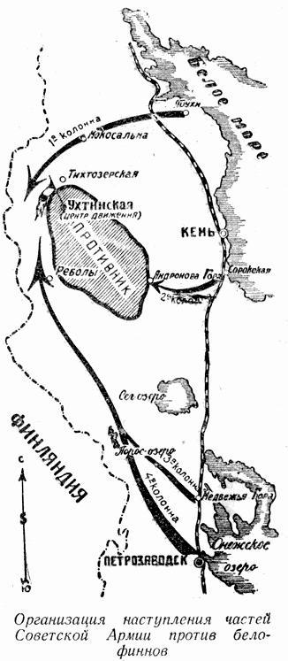Организация наступления частей Советской Армии против белофиннов.
