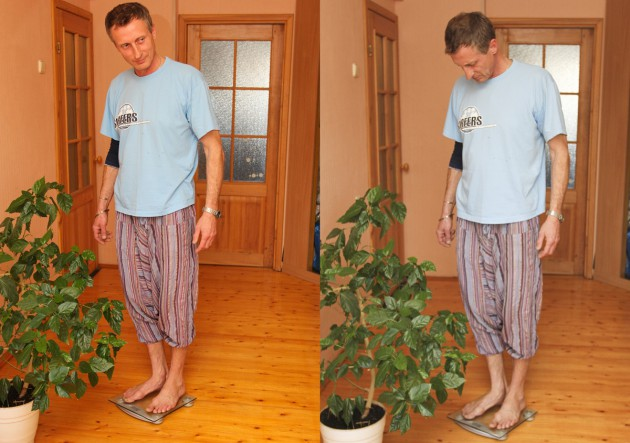 За полтора года новой жизни Сергей похудел на 16 килограмм. Я видела его фото «до»: два разных человека.